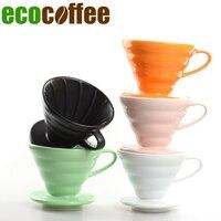 2017 אמיתי הצעה מיוחדת Ciq Ecocoffee מצויד 1 pc Diy קרמיקה V60 טפטף 02 גודל שחור/לבן/כתום/צהוב/ירוק קפה לחלוט