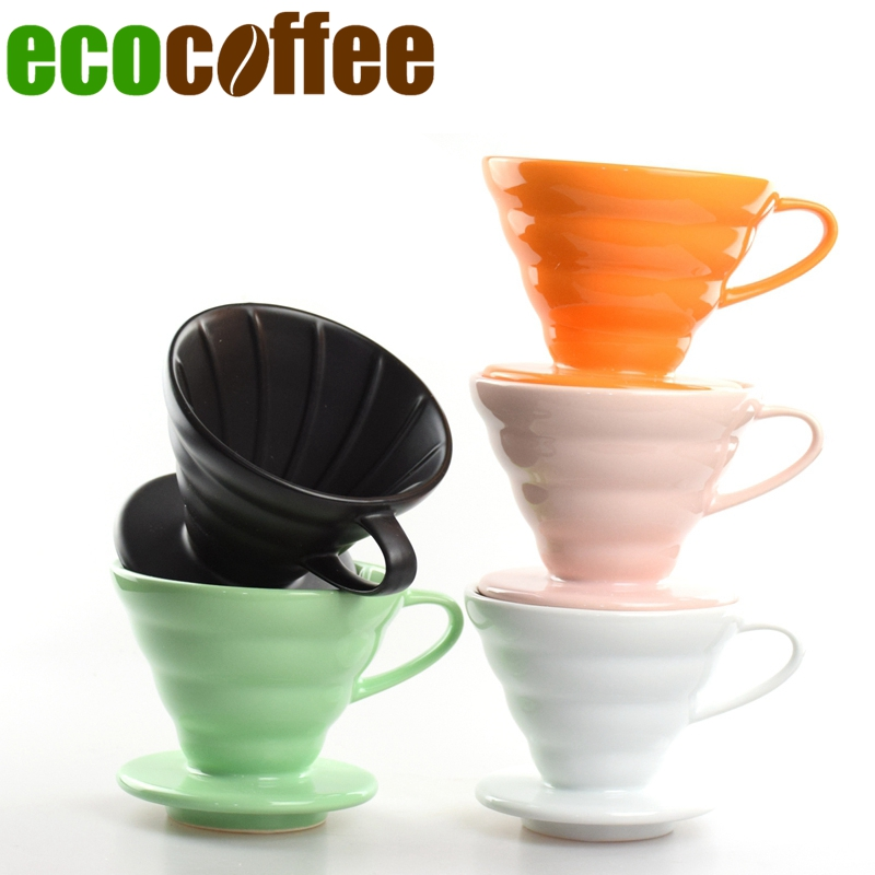 2017 Real Special Offer Ciq Diy Stocked Ecocoffee 1pc Ceramic V60 Dripper 02size Black/white/orange/yellow/green Coffee Brew