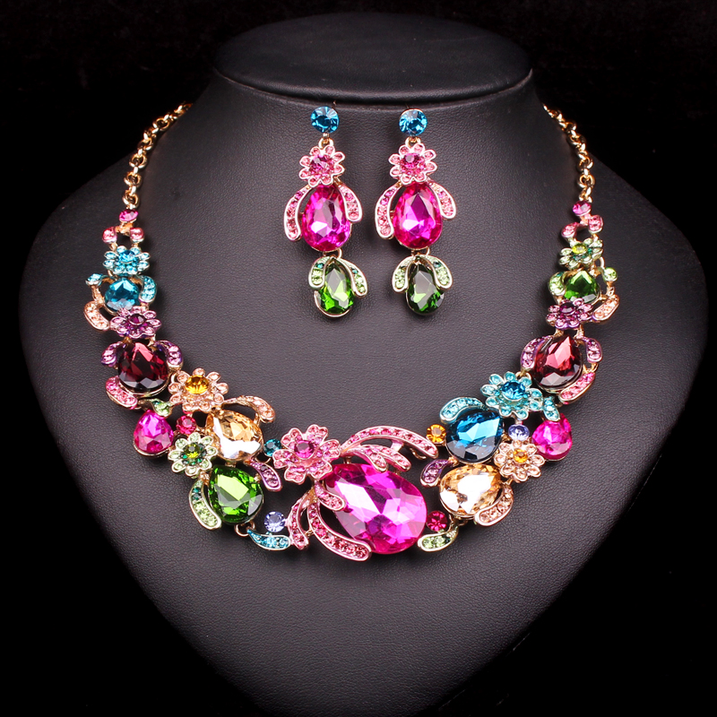 Fashion Flowers Bridal Jewelry Sets Wedding Necklace For Bride Party Costume Accessories Indian drop Earrings Women's Gifts