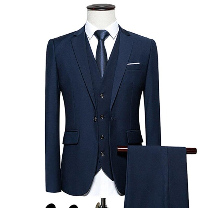 men's business casual suits sets / Men three-piece suit three separate set / male vest+Blazers+pants PLUS SIZE 6XL suit coat
