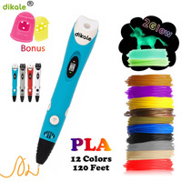 dikale Model 3D Pen 3D Printer Drawing Magic Printing Pens With 3M 12Color PLA Filament School Supplies For Kid Birthday Gift