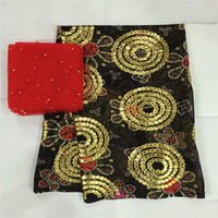 High quality silk fabric for lady dress embroidered george silk fabric African metallic silk fabric 5+2yards ! L30836
