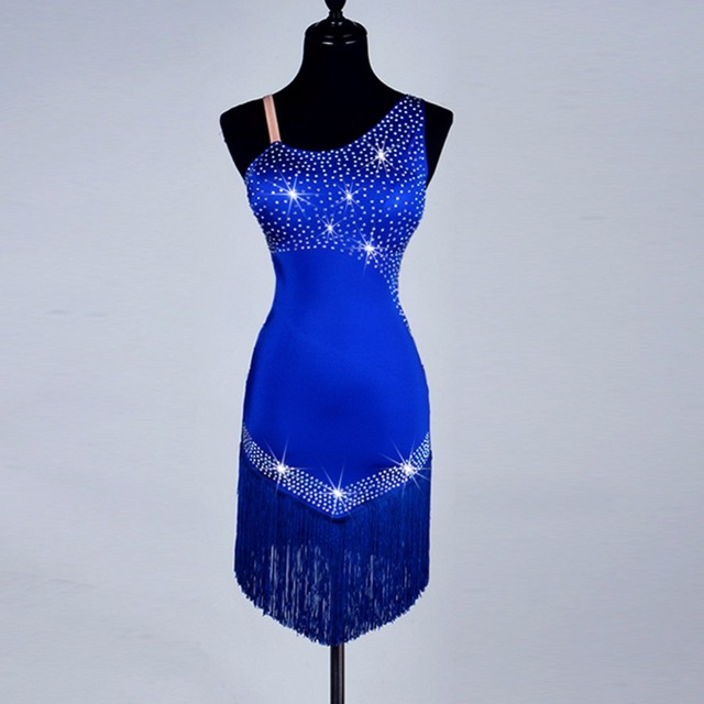 Hot Selling Latin Dance Dresses For Ladies Custom-made Diamonds Tassel Blue Skirts Fabric Women Arena Play Party Ballroom Dress
