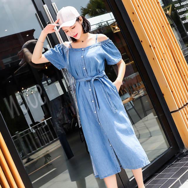 e89170d8d07 placeholder PINBEIQI 2018 Summer Korean Style Slim Short Sleeve Blue Denim  Dresses Fashion Women Off Shoulder Jeans