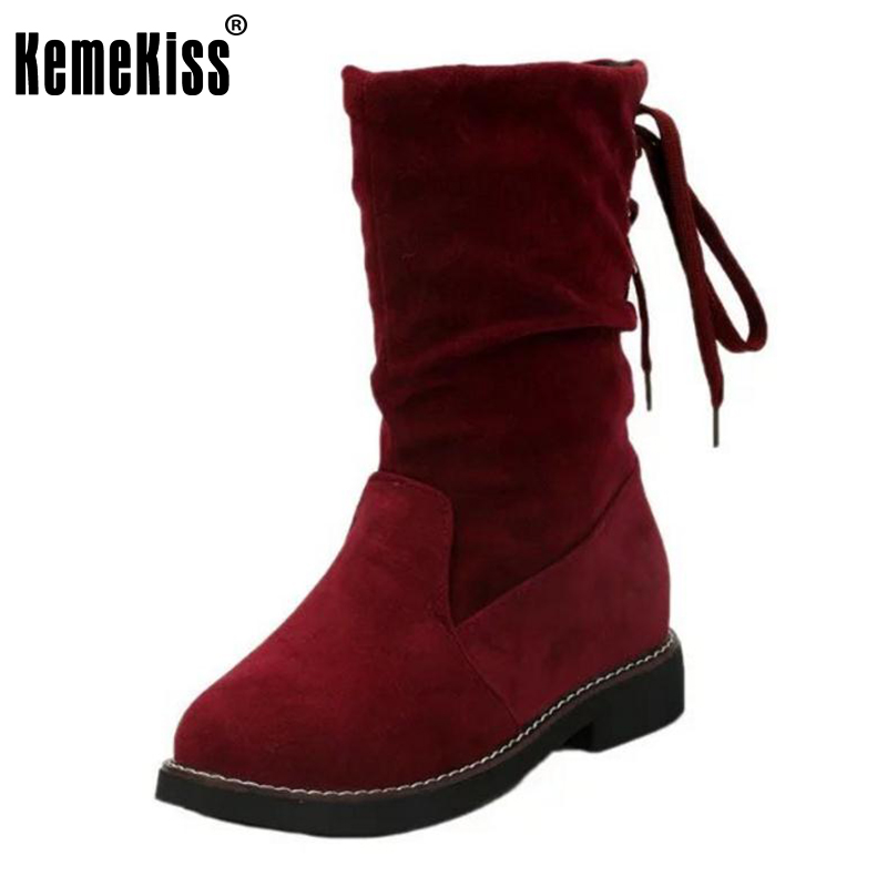 KemeKiss Women Thick Fur Snow Botas High Heel Boots Cross Strap Thick Heels Boots Cold Winter Shoes Women Footwears Size 35-40