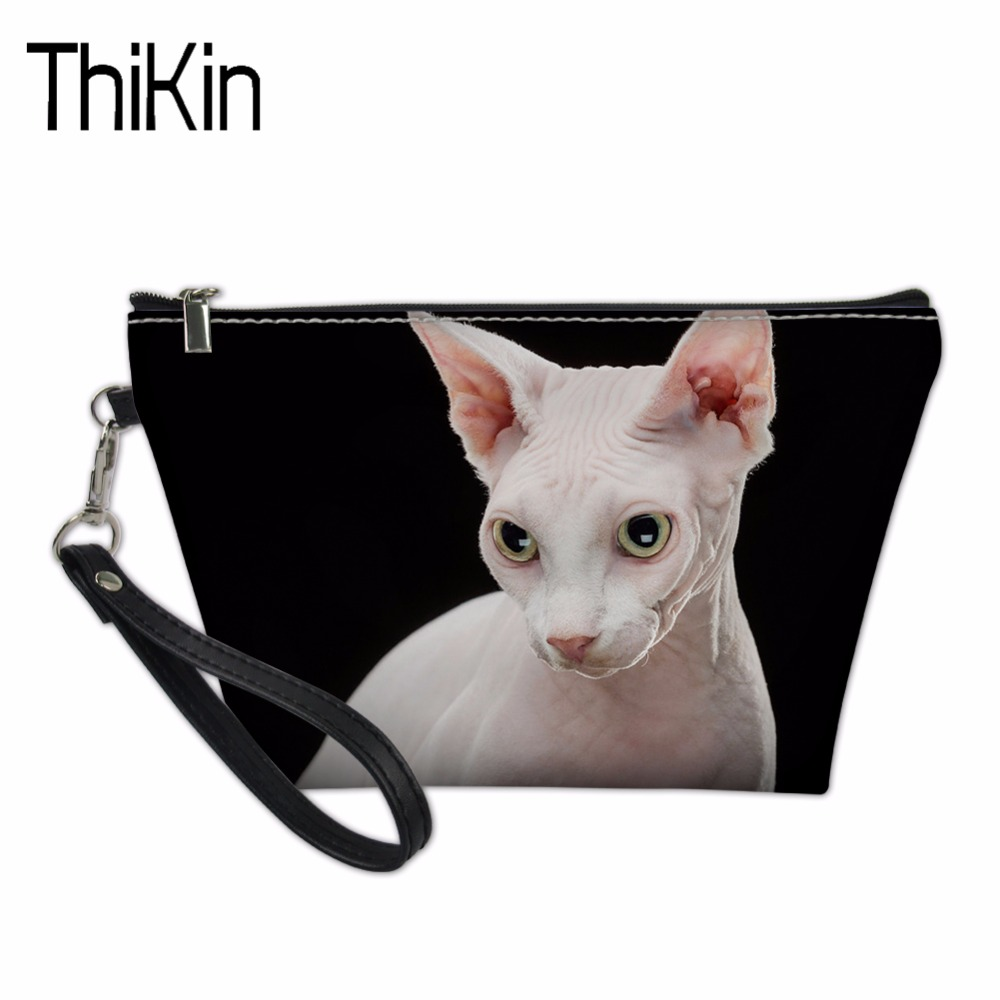 THIKIN Cosmetic Bags & Cases for Women Makeup Functional Bag Travel Organize Make Up Pouch Sphynx Canadian Hairless Cats Pattern