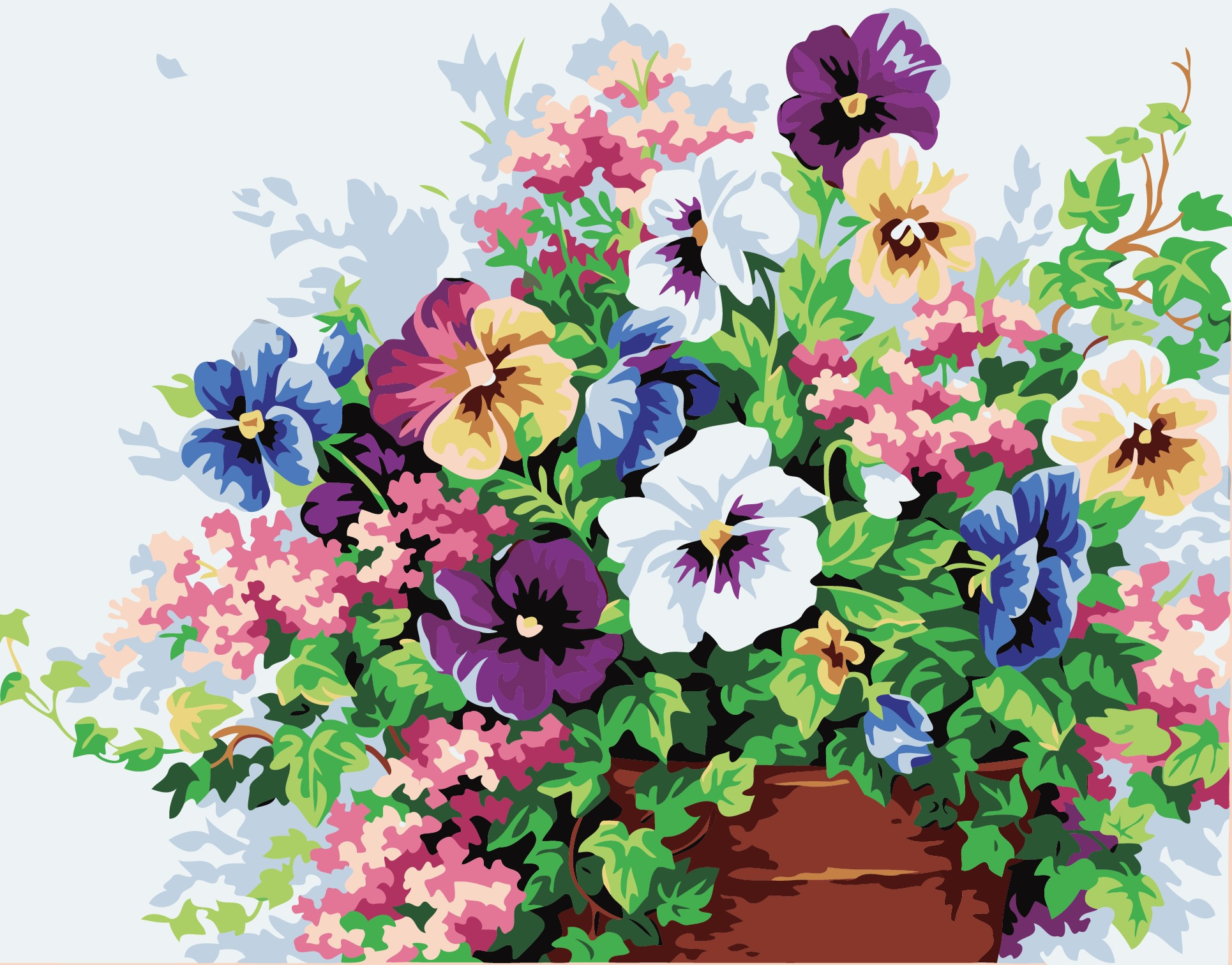 The Latest Style Diy Oil Painting Canvas Digital Flowers Craft