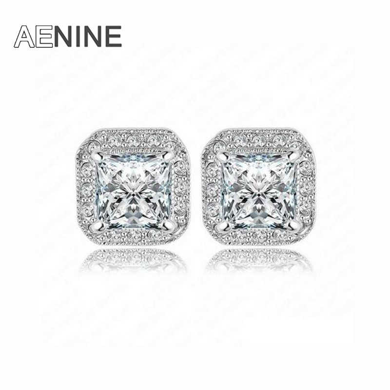 8f7782e46 Detail Feedback Questions about AENINE Brand Sparkling Square Cubic  Zirconia Stud Earring Rose Gold Color Elements Austrian Crystal Earrings  Jewelry ER0192 ...