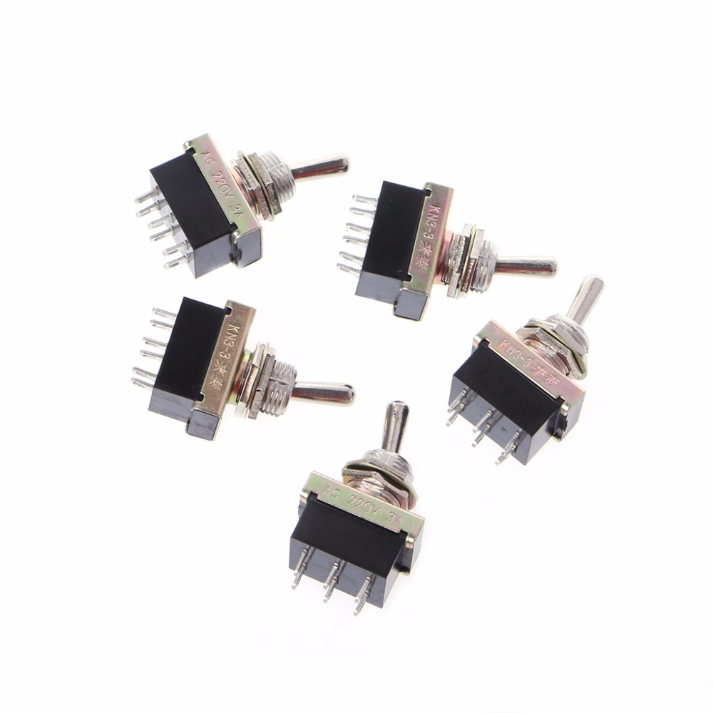 5 Pcs Kn3 3 Toggle Switch Spst On 2 Position 6 Pin Ac 220v 3a Details About Off With Wire Leads Images 12mm Switches Accessories In From Lights Lighting Alibaba