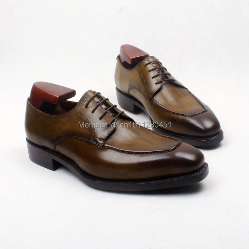 obbilly Handmade Genuine Calf Leather Upper/outsole/Insole Brown Color Derby Goodyear welted Craft Square toe Shoe No.D210 obbilly handmade genuine leather upper outsole insole navy color goodyear craft square toe men s classic shoe no ox633