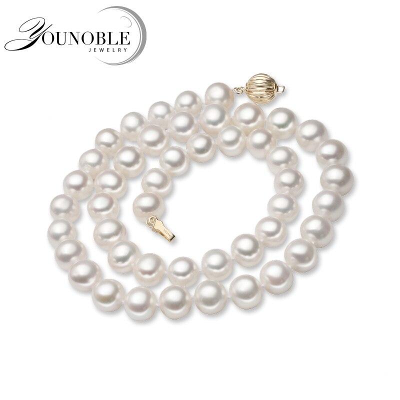 Collier rond en perles d'eau douce naturelles pour femmes, fermoir en or, colliers en perles blanches, cadeau d'anniversaire pour femme