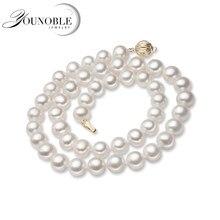 b5166058dcab Agua Dulce perla natural collar redondo para las mujeres broche de oro  blanco collares de perlas de esposa