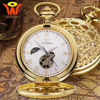 Gold Mechanical Pocket Fob Moon Watch montre Vintage Pendant Watch Necklace Clock Men Antique Mechanical Hand Wind Chain Watches