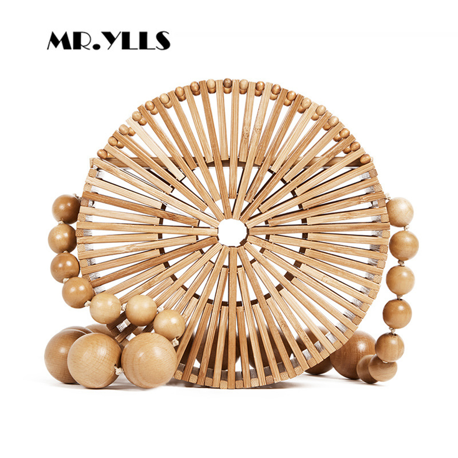 Round Summer Handmade Bamboo Bags Bohemian Straw Bag Hollow Rattan Woven Beach Bag Women Handbag Vintage Bali Lady Tote 2018 New women s handbags female travel vacation round tote bamboo handbag for ladies handmade woven straw beach bag summer women s purse