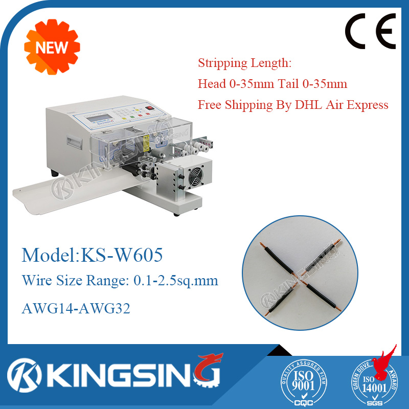 ks-w605 programmable english wire cable cutting stripping twisting machine,  wire cutter stripper+ free shipping by dhl
