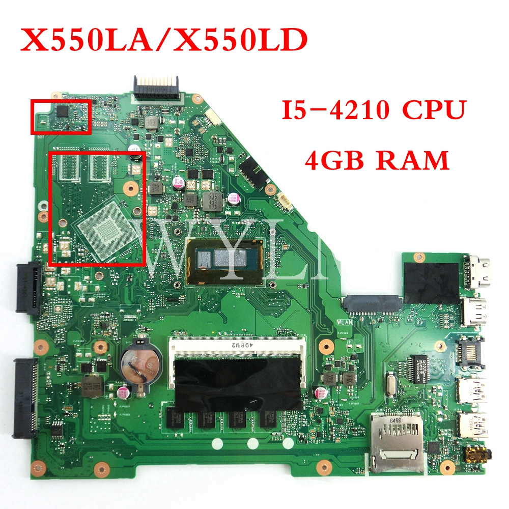 X550LA MB-4G/I5-4210 CPU Mainboard For ASUS A550L A550LA R510L R510LA X550LD Laptop Motherboard Tested Working 90NB02F0-R00080
