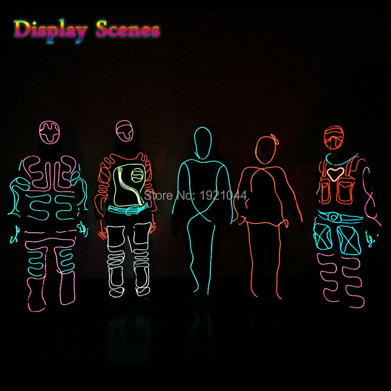 Luminous Costumes EL Suits Illuminated Glowing Hooded EL wire Clothes Cold Strip Dance Fashion Talent Show LED Light Clothing