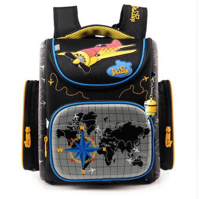 2017 Boys school bags dark blue cars aircraft childrens orthopedic backpack high quality mochila infantil bolsas primary 1-5