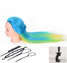 Blue Green Yellow Hair Training Heads Doll Colorful Wig Dummy Mannequins Hairdressers Hairstyling Mannequin Female Head