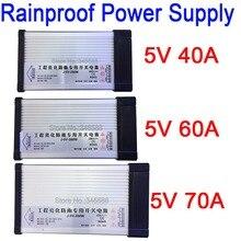 Interruptor de alimentación exterior a prueba de lluvia, CA 187 262V 220V a DC5V 40A 200W 60W 300W 70W 350W AC a DC 5V, fuente de alimentación LED de voltaje constante