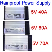 Rainproof Outdoor Power Switch AC 187 262V 220V to DC5V 40A 200W 60W 300W 70W 350W AC to DC 5V Constant Voltage LED Power Supply