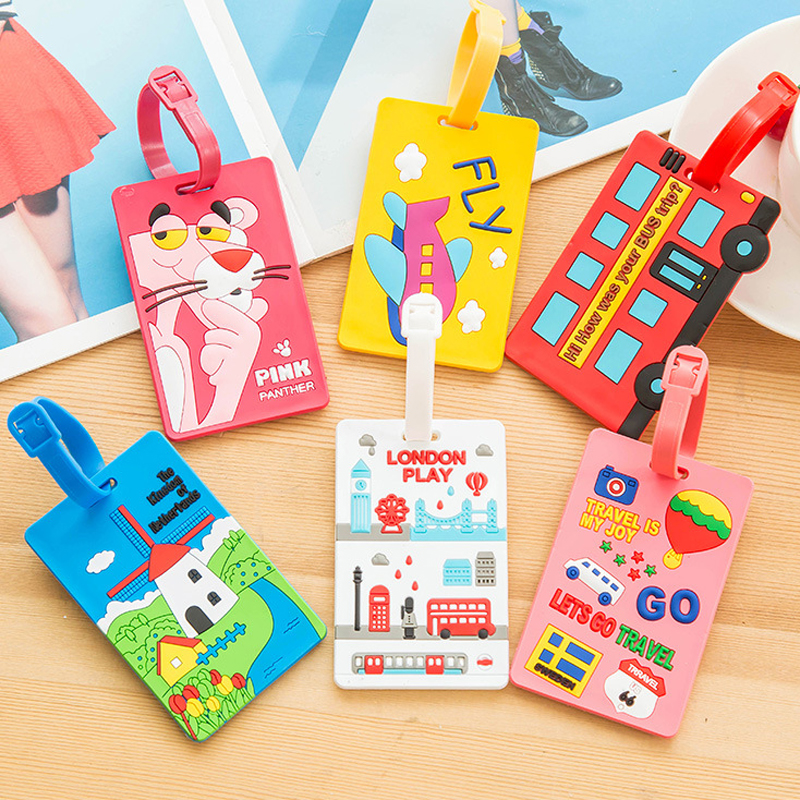 Label Tag-Luggage-Cover Suitcase Address-Holder Travel-Accessories Silica Portable Cartoon