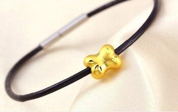 Luxury Fashion  Pure 999 24K Yellow Gold / 3D Lucky Bone Pendant Children Gift