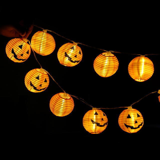 1 pc 10 head halloween decoration led paper pumpkin light hanging lantern lamp halloween props outdoor