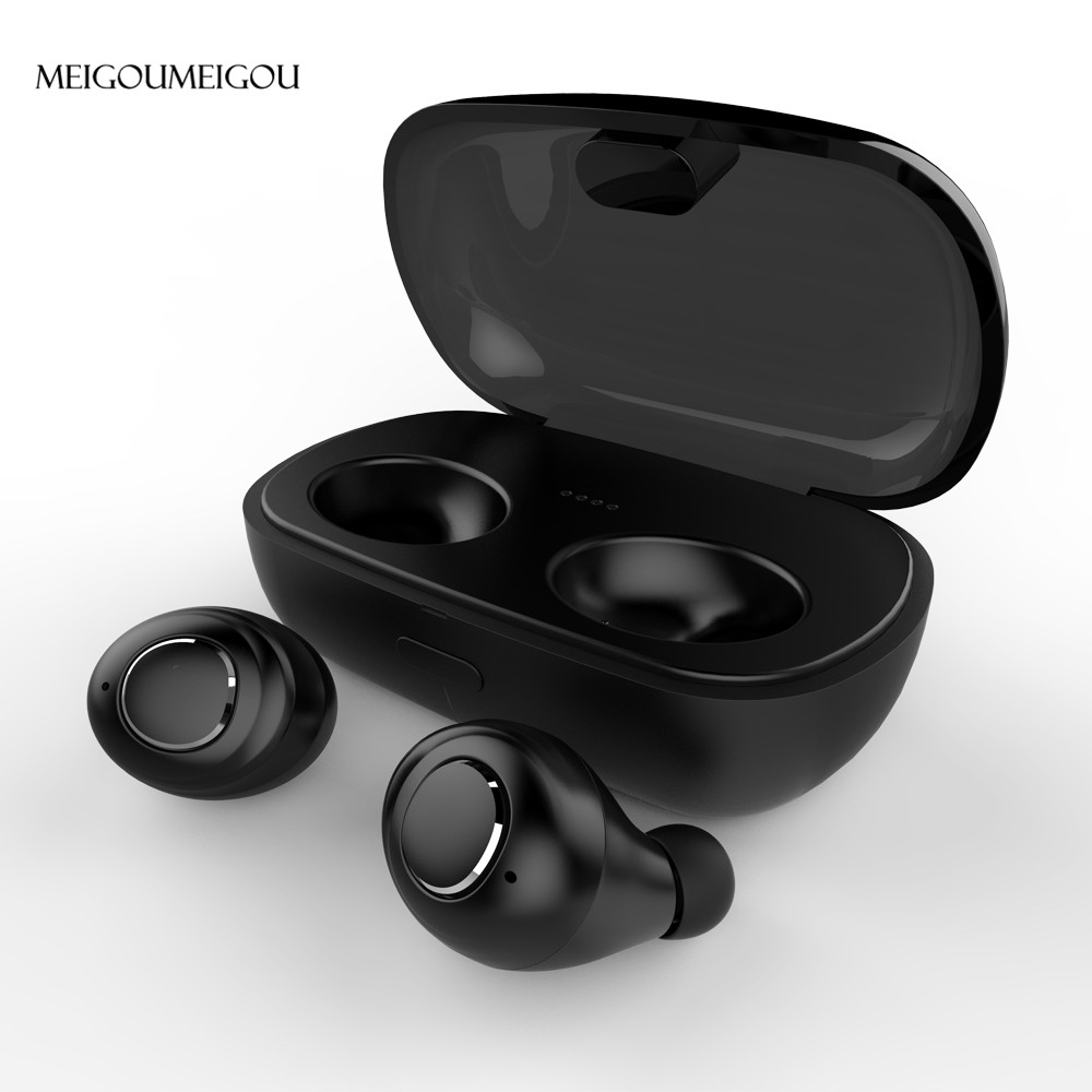 MEIGOUMEIGOU mini bluetooth 5.0 earphone true wireless Earphones music stereo headset with charging box invisible TWS Earbud mini true bluetooth earphones twins v 4 1 stereo earbud wireless headset sport invisible waterproof headphone with charger box