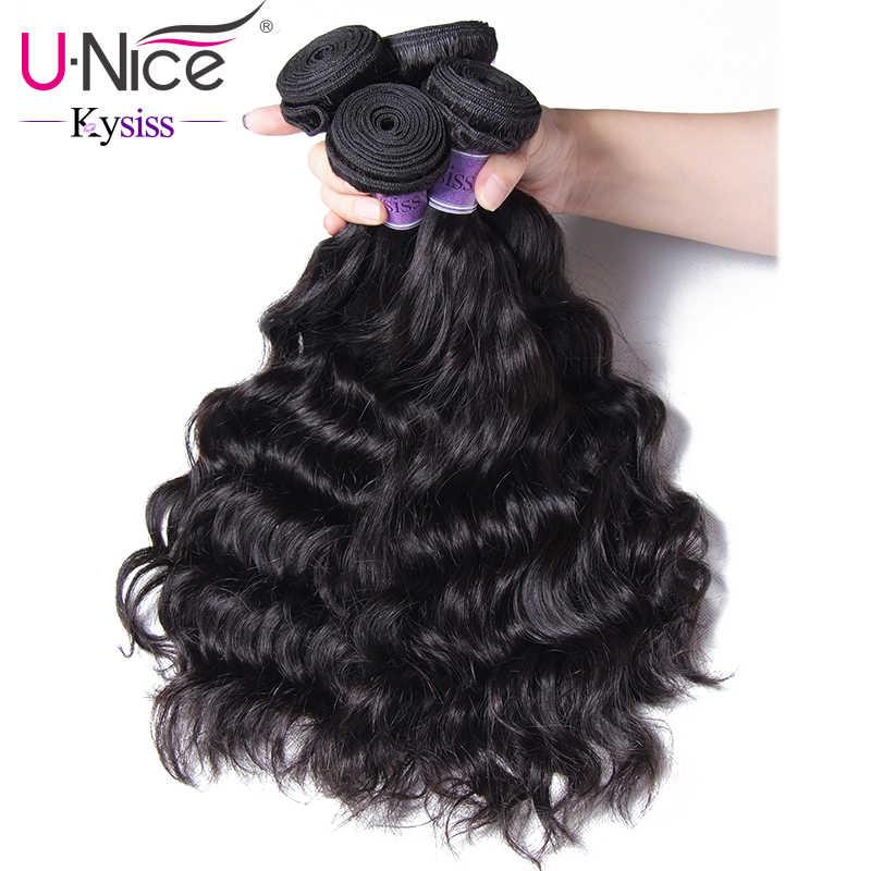 Волосы UNICE Kysiss серии перуанские натуральные волнистые 3 пучка человеческих волос Плетение Пучков естественных цветов накладка из натуральных волос