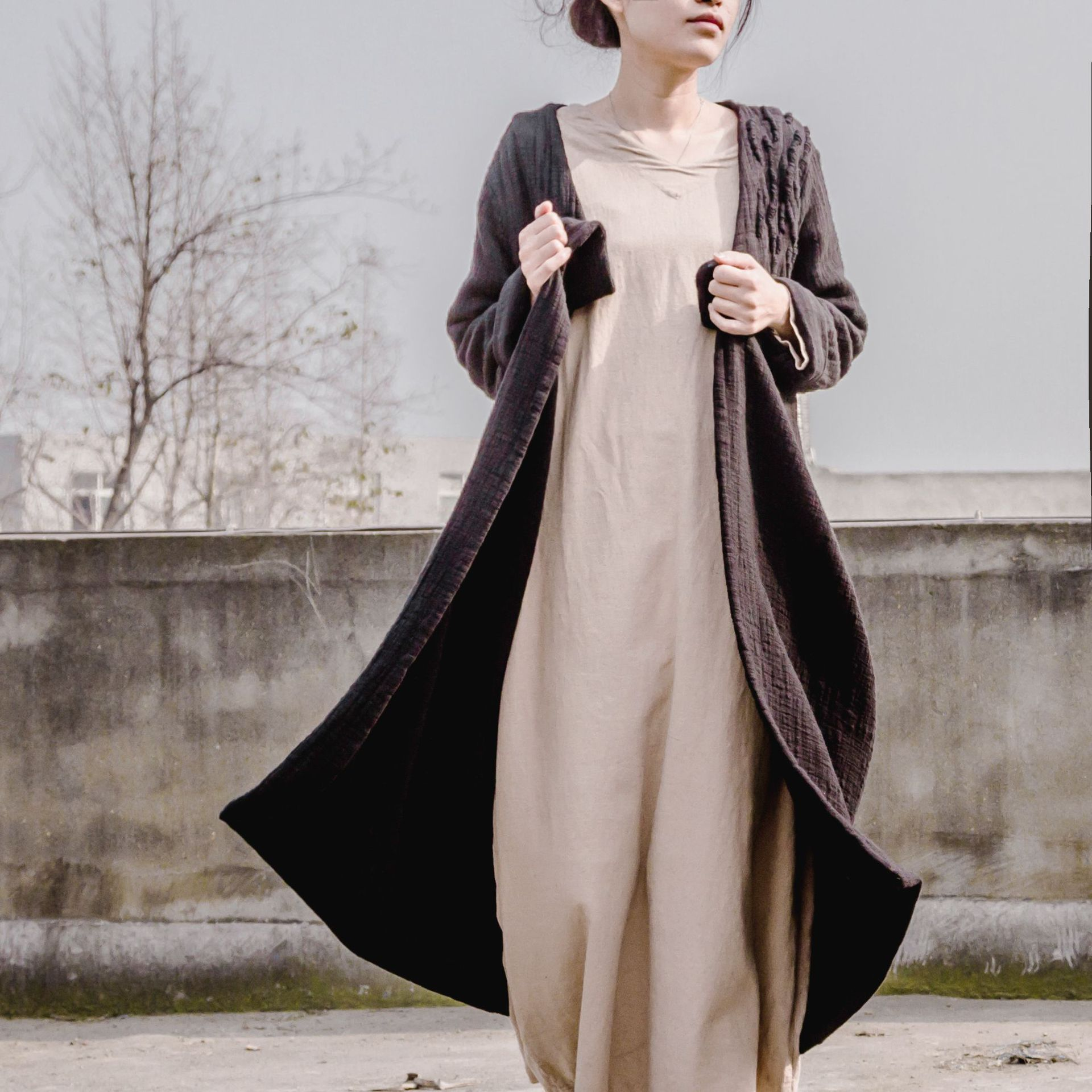 Retro Thick Dense V Neck Handmade Embroidery Women Cotton Linen Cardigan Coat, Double Layers Making Classical Long Trench Coats