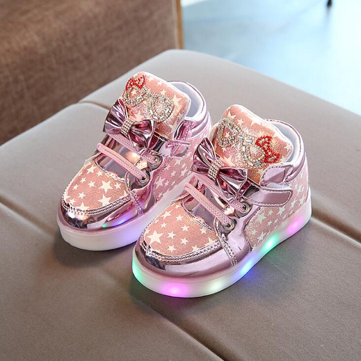 2019 Spring Autumn Children's Sneakers With Light Kids Shoes For Girls Toddler Casual Shoes With LED Light Up Luminous Sneakers