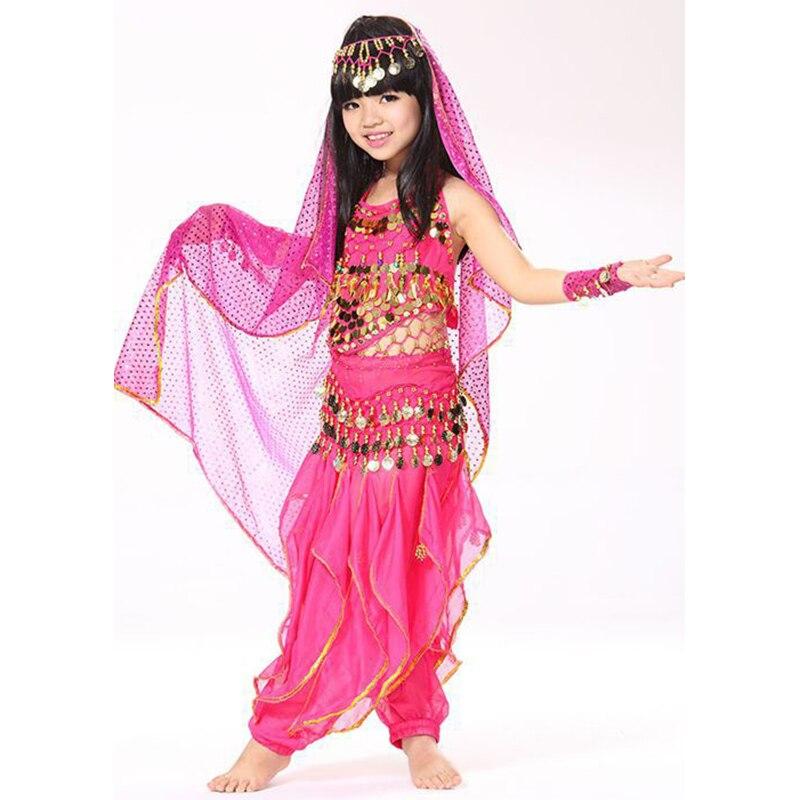 Belly Dance Indian Children Costume Set Top Belt Pants Headpiece