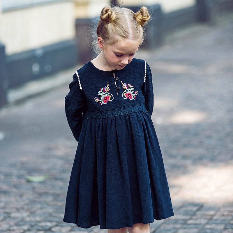 W.L.MONSOON Baby Girl Dress Long Sleeve Vestidos 2017 Brand Christmas Dress with Embroidery Cotton Autumn Dresses Kids Clothes w l monsoon baby girl dress long sleeve vestidos 2017 brand christmas dress with embroidery cotton autumn dresses kids clothes