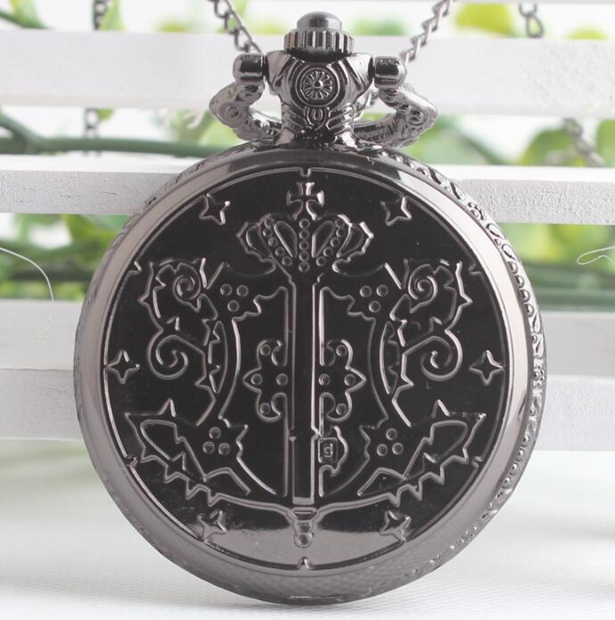 New Hot Animation Kuroshitsuji Black Butler Sebastian Theme Quartz Pendant Pocket Watch With Necklace Chain Gift To Boys Gift