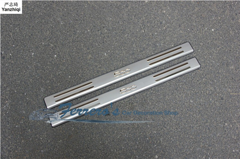 Free shipping for 2010-2015 FIAT 500 stainless steel scuff plate door sill 2pcs/set car accessories car sticker car styling