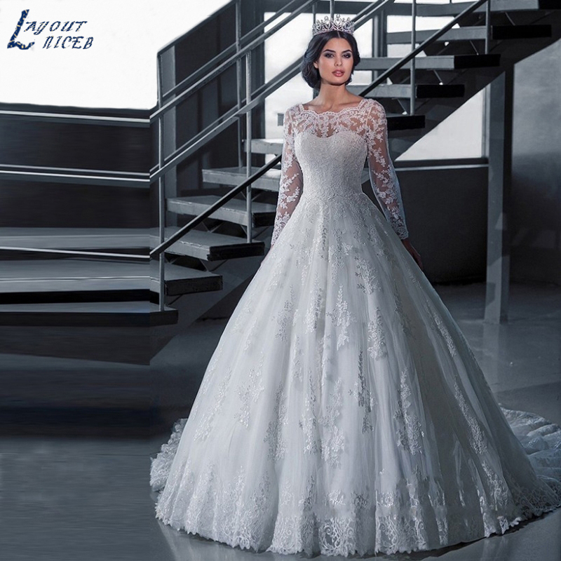 d8853c501 KKW891 Vestido de Noiva Ball Gown Princess Wedding Dress Lace Luxury Robe de  Mariage Long Sleeves Vestidos de Novia ~ Super Sale July 2019