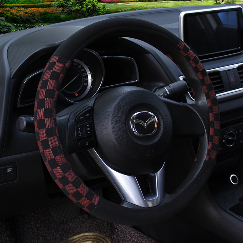 KKYSYELVA Warm Fur Car steering wheel cover Winter Woolen Interior Accessories 38cm wool Auto Steering-wheel Covers