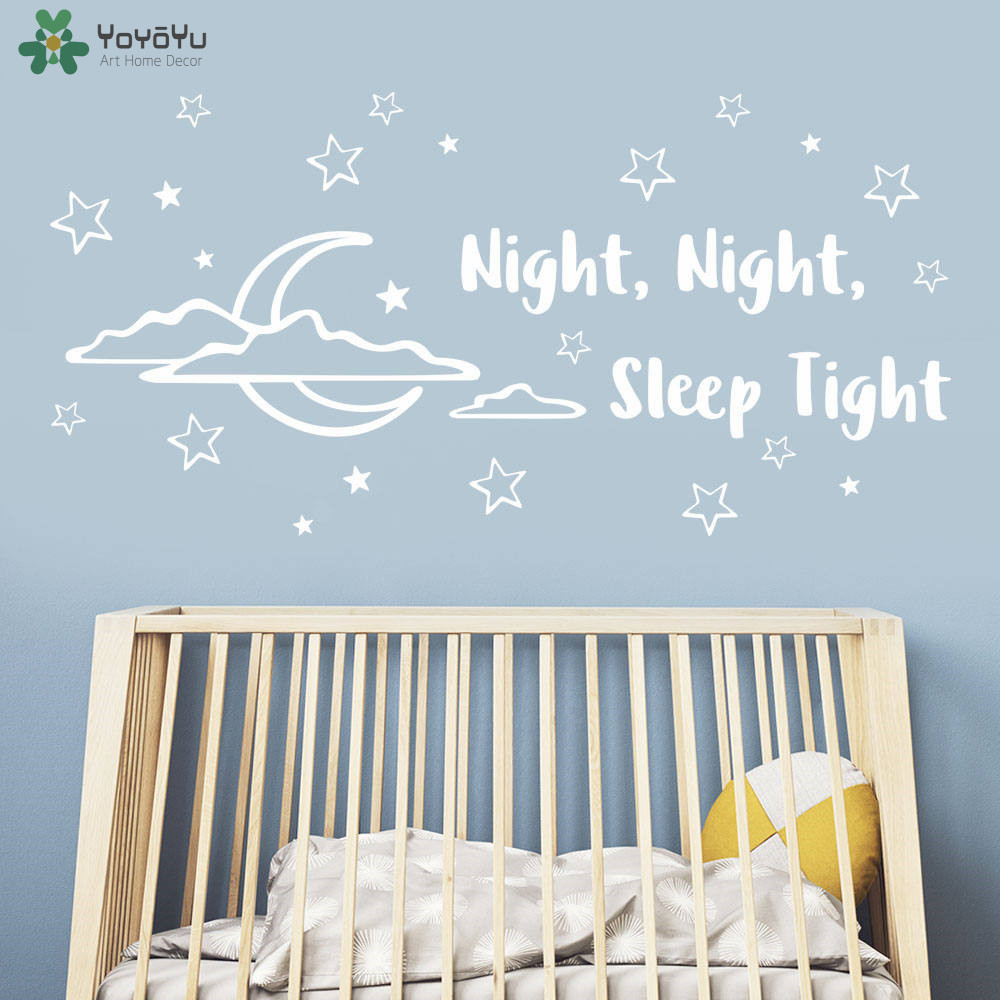 Moon Stars Pattern Wall Sticker For Kids Room Quotes Night Sleep Tight Wall Decal Baby Nursery Bedroom Vinyl Decor DIY Art SY336