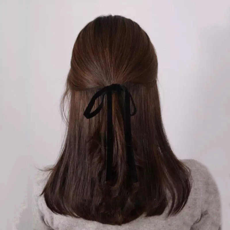 Velvet Ribbon Bow Hair Band Women Headband Girls Long Tassel Scrunchie Elastic Rubber Bands Hair Accessories