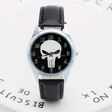 2017 Marvel Super Hero The Punisher Leather Band Skull Black Fashion kids