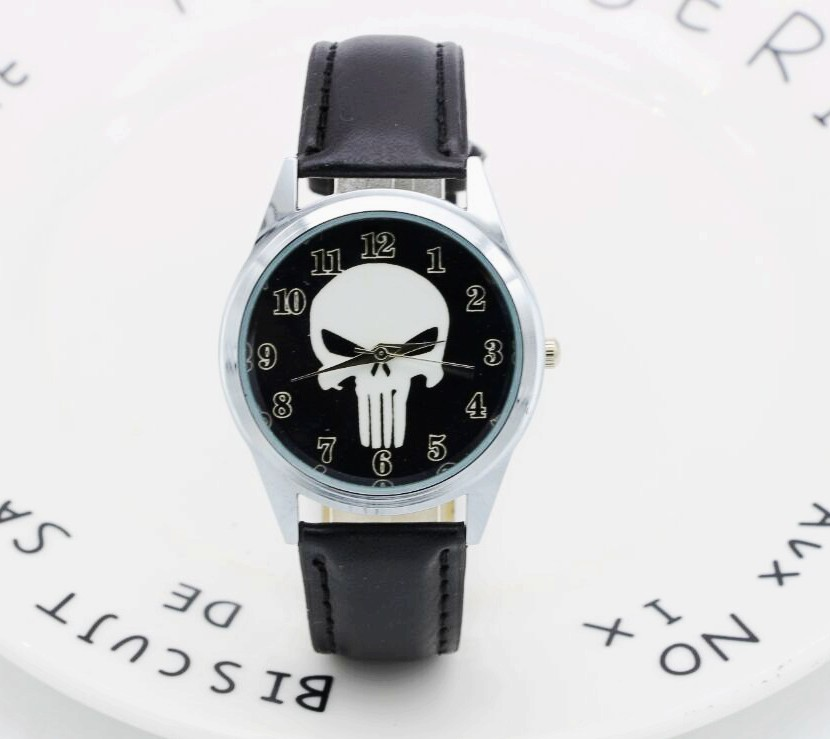 2017 Marvel Super Hero The Punisher Leather Band Skull Black Fashion Kids Watch Wrist