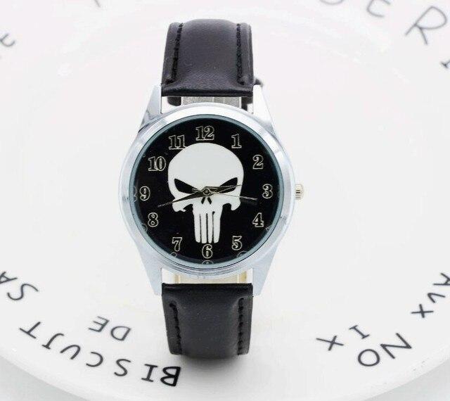 2017 Marvel Super Hero The Punisher Leather Band Skull Black Fashion kids Watch