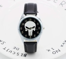 2017 Marvel Super Hero Die Punisher Leder Band Schädel Schwarz Mode kinder Uhr Handgelenk