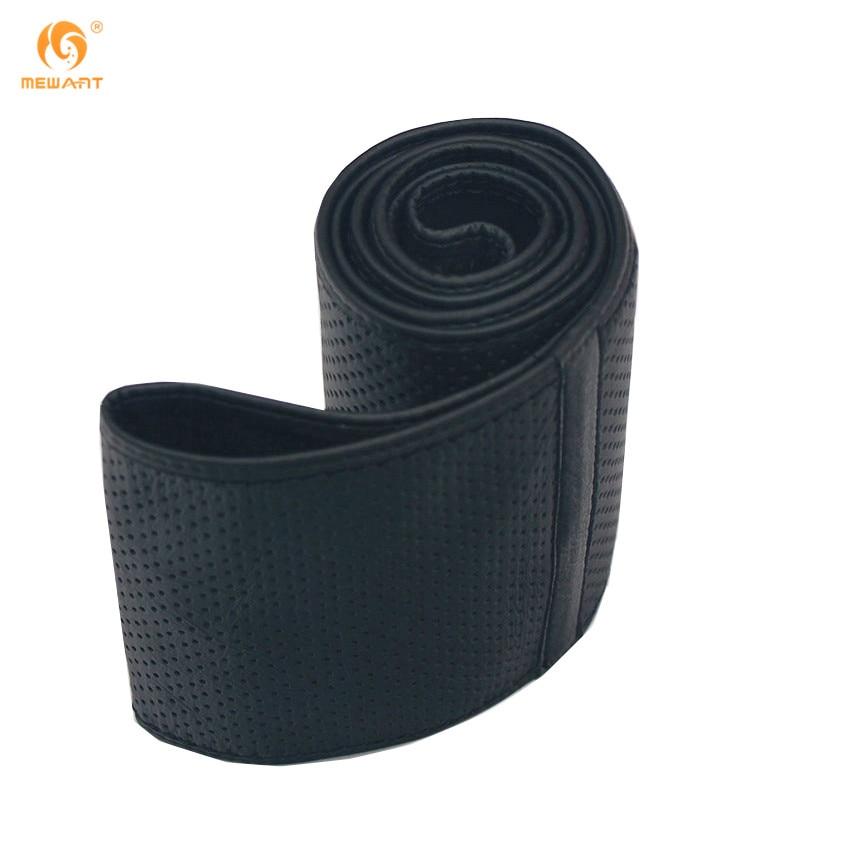 все цены на MEWANT Genuine Leather Universal Steering Wheel Cover Black Dark Gray Brown Leather Needle Thread Hand Sewn DIY Wheels Covers