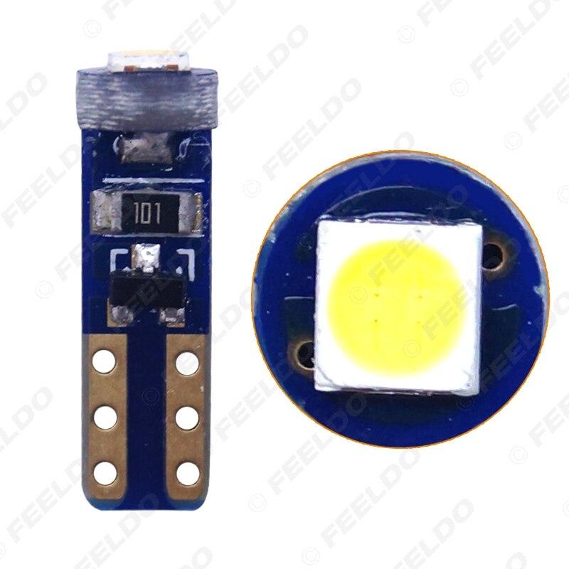 FEELDO 50Pcs White T5 7417 Car LED Light 3030 1LED LED License Plate Parking Lights Side Lamp Bulb Light