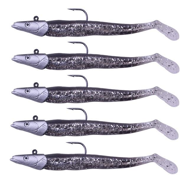 5 pièces/ensemble tête de poisson Jig naufrage 11 cm 22g leurre de pêche eau salée douce Vivd corps appât doux 5 couleurs têtes de gigues matériel de pêche