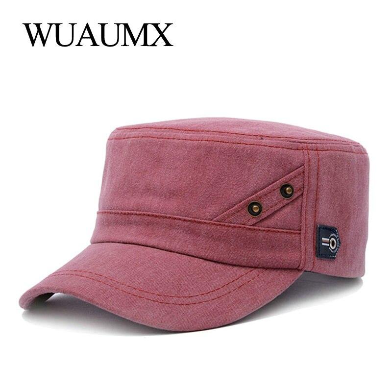 Wuaumx Yeni Askeri şapka Için Kadın Erkek 100 Pamuk Yıkanmış