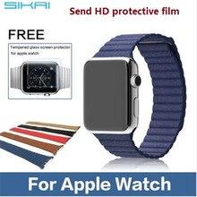 100% lazo de cuero genuino para apple watch venezia acolchada lazo de cuero ajustable con cierre magnético para apple watch band