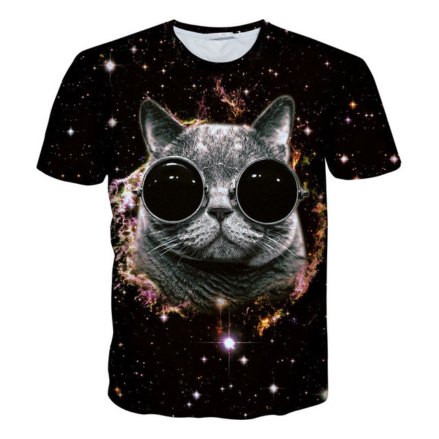 2017 New Surprised Cats T Shirt Fluffy Cuddly Terrified